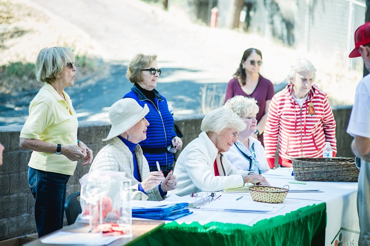 A group of older white women sit outside at a table doing paperwork